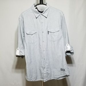 Billabong Gray Button Down Shirt Roll Sleeve